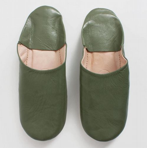 Men's Slippers - Leather Mules - Olive